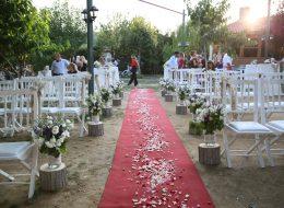 Düğün Organizasyonu Kırmızı Halı ve Çiçek Süslemelerle Yürüyüş Yolu