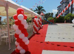 Balon Süsleme ve Kırmızı Halı Kiralama Finike Açılış Organizasyonu