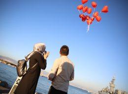 Evlenme Teklifi Organizasyonu Kırmızı Kalpli Uçan Balon Buketi