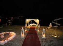 Kumsalda Evlilik Teklifi Organizasyonu Işık Şelalesi Gösterisi İzmir
