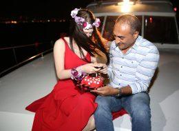 Mutluluk Teknesi'nde evlenme teklifi organizasyonu,